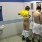 footballers pissing