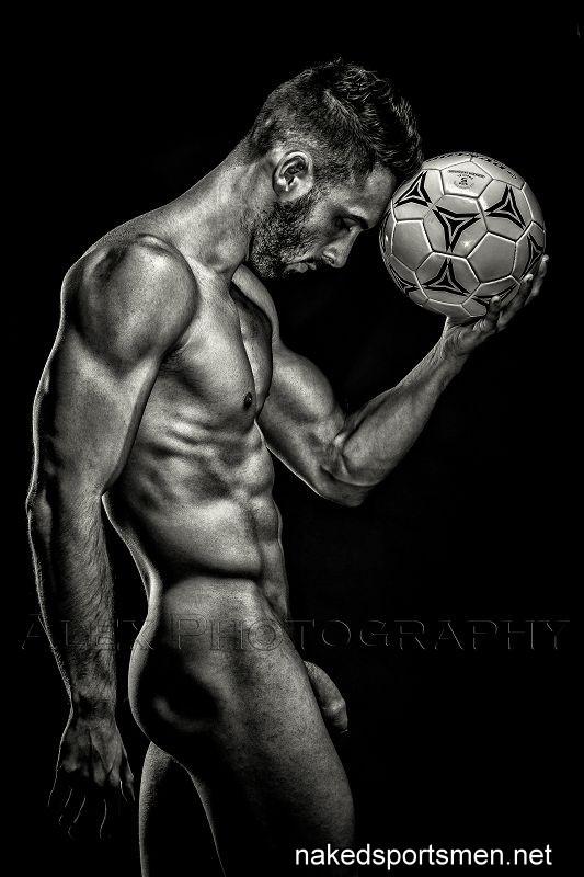 naked footballer shows soft cock