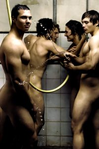 French sportsmen showering