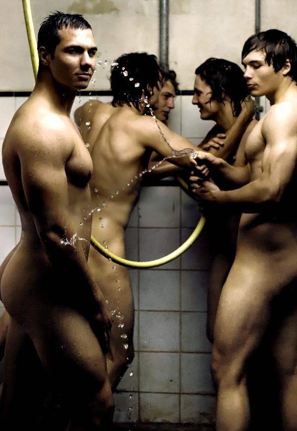 French sportsmen showering