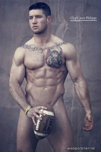 Hairy chest rugby player naked