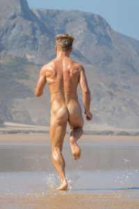 Naked muscle male runner