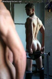 Nude boy in changing room