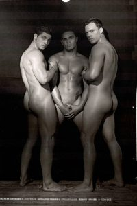 Jonathan Schneider, Guillaume Chaine and Renaud Carriere naked together
